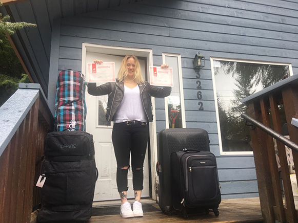 Camper Ellie Shepherd from Pro Ride Leaving Whistler